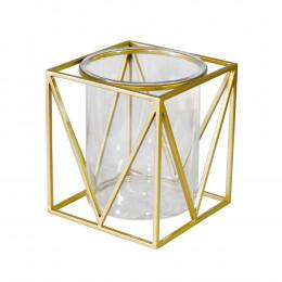 Castiçal em Metal Dourado C/ Vidro - 21x19cm