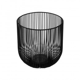 Castiçal Produzido em Metal Preto - 17X16cm