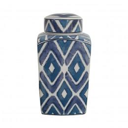 Potiche de Porcelana Geométrica Azul - 17x17x38cm