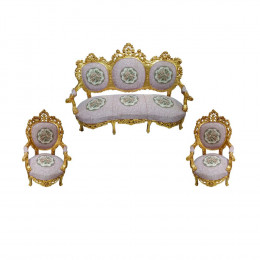 Jogo de Sofá Medalhão com Duas Poltronas - 185x75x175