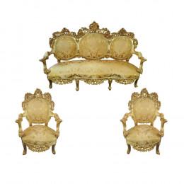 Jogo de Sofá com Duas Poltronas Dourada - 186x77x150cm