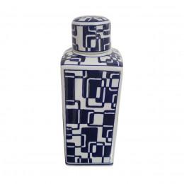 Potiche Decorativa de Cerâmica Branco e Azul - 32x11x11cm