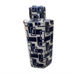 Potiche Decorativo de Cerâmica Azul e Branco