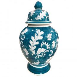 Potiche  de Cerâmica Adamascado Blue - 19,5x19,5x34,5cm