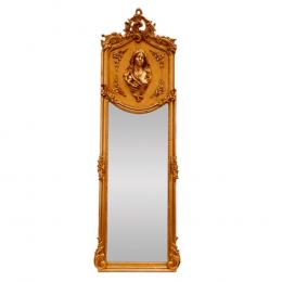 Espelho Retangular Folheado a Ouro com Busto de Mulher na Moldura  - 178x53cm