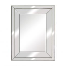 Espelho Retangular Prata com Moldura Espelhada - 77x97cm