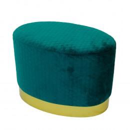 Puff com Base em Metal e Estofado em Veludo Azul - 45x61x38cm