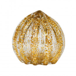 Objeto Decorativo em Murano Incolor com Detalhes em Dourado - 9x9cm