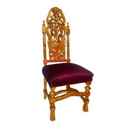 Cadeira Clássica Dourado com Estofado Vinho - 125x49x48cm