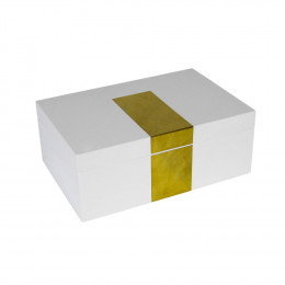 Porta Joia Produzido em Madeira Branca e Placa Dourada com Espelho - 11x30x20cm