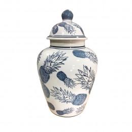 Potiche de Porcelana Azul Claro Abacaxi - 21x35cm