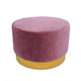 Puff com Base em Metal Dourado e Estofado em Veludo Cor de Rosa - 40x60cm