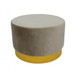 Puff com Base em Metal Dourado e Estofado em Veludo na Cor Cinza - 40x60cm
