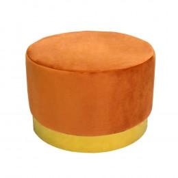 Puff com Base em Metal Dourado e Estofado em Veludo na Cor Laranja - 40x60cm
