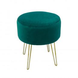 Puff com Base em Metal e Estofado em Veludo Verde - 44x39cm