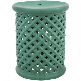 Garden Seat em Cerâmica Vazado Verde Água - 45x36cm