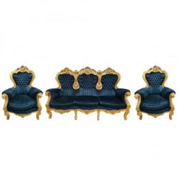 Sofá Clássico Estilo Luis XV Dourado em Captone Preto + 2 Poltronas Clássica Estilo Luis XV