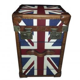 Baú em Madeira Bandeira Inglaterra 59x47x41 cm