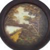mesa-auxiliar-redonda-com-decoração-de-pintura-a-óleo-80x43x43cm