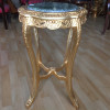 Mesa Auxiliar em Madeira Dourada com Tampo em Mármore - 60x45x45cm