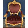 Jogo de Sofá Clássico Estilo Francês Medalhão Luis XV Vinho 2 Poltronas