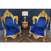 Jogo de Sofá Clássico Estilo Francês Imperial Azul