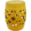 Garden Seat em Cerâmica Amarelo com Detalhes Vazados e Relevo