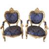Jogo de Sofá Clássico Estilo Francês Medalhão Luis XV Azul 2 Poltronas