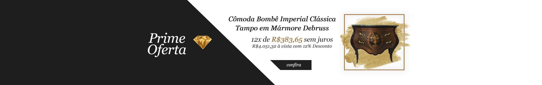 Prime Oferta - Cômoda Bombê Imperial Clássica com Tampo de Mármore Debruss