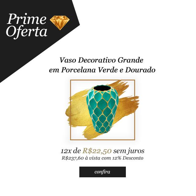 Prime Oferta - Vaso Decorativo Grande em Porcelana Verde e Dourado