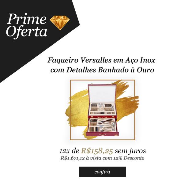 Prime Oferta - Faqueiro Versalles em Aço Inox com Detalhes Banhado à Ouro