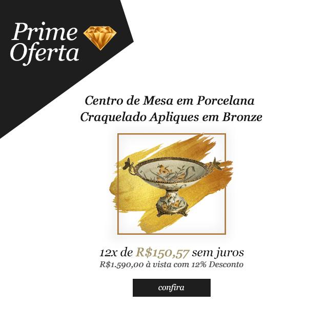 Prime Oferta - Centro de Mesa em Porcelana Craquelado Apliques em Bronze