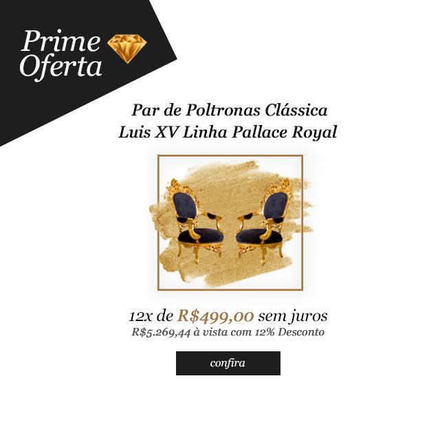Prime Oferta - Par de Poltronas Clássica Tipo Luis XV Linha Pallace Royal com Tecido Preto